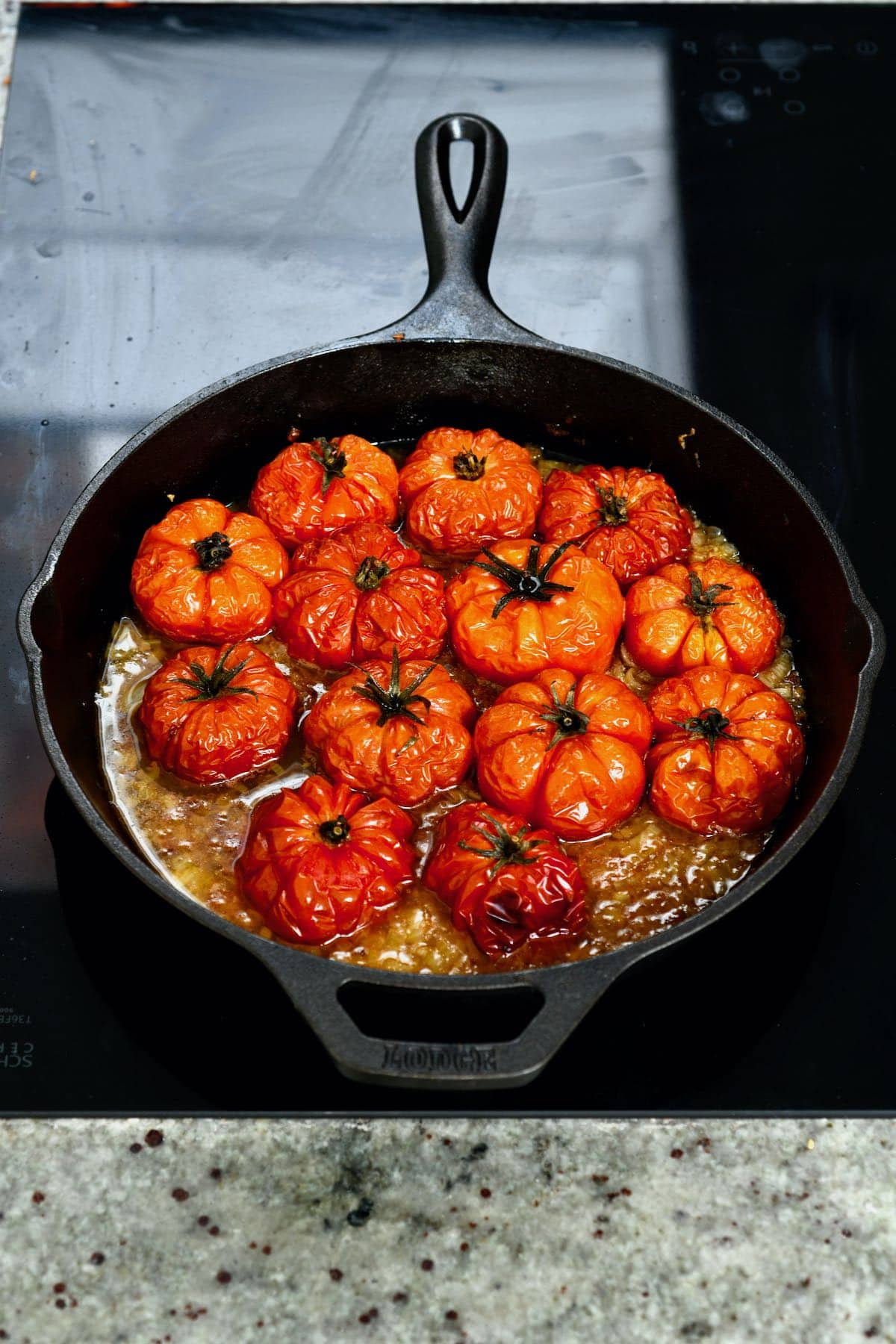 Roasted tomatoes in a skillet