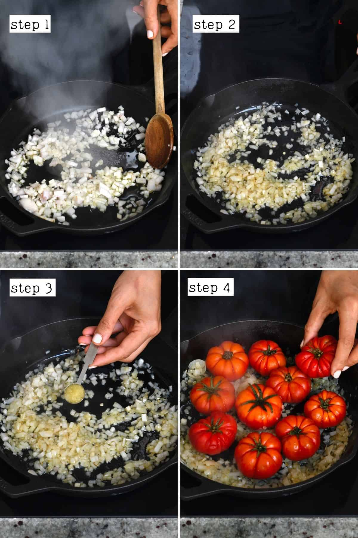 Steps for cooking onion garlic and tomatoes