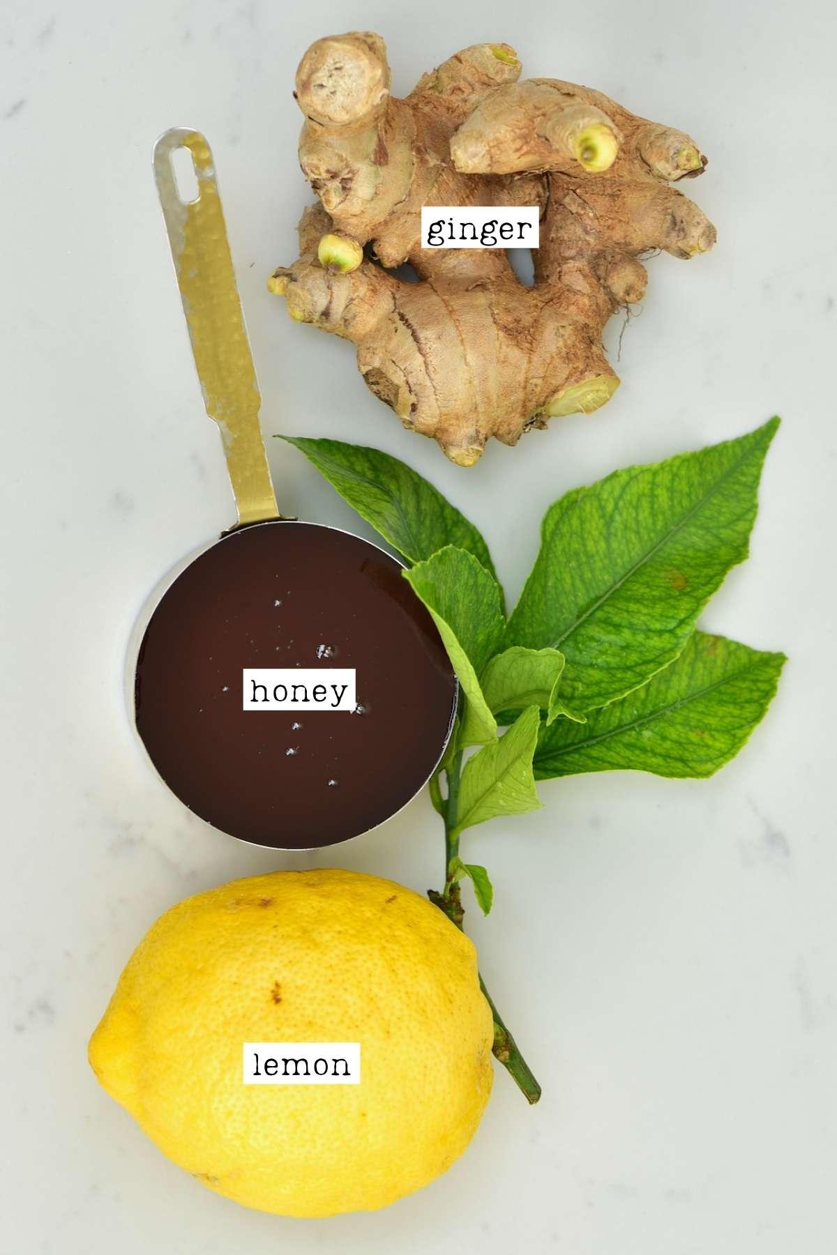 Ingredients for fermented lemon ginger honey