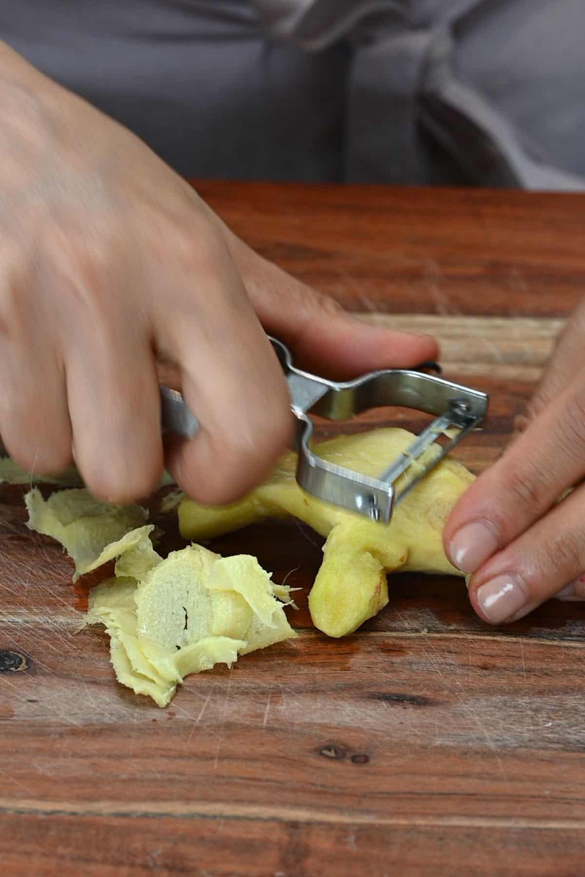 Making thin ginger slices