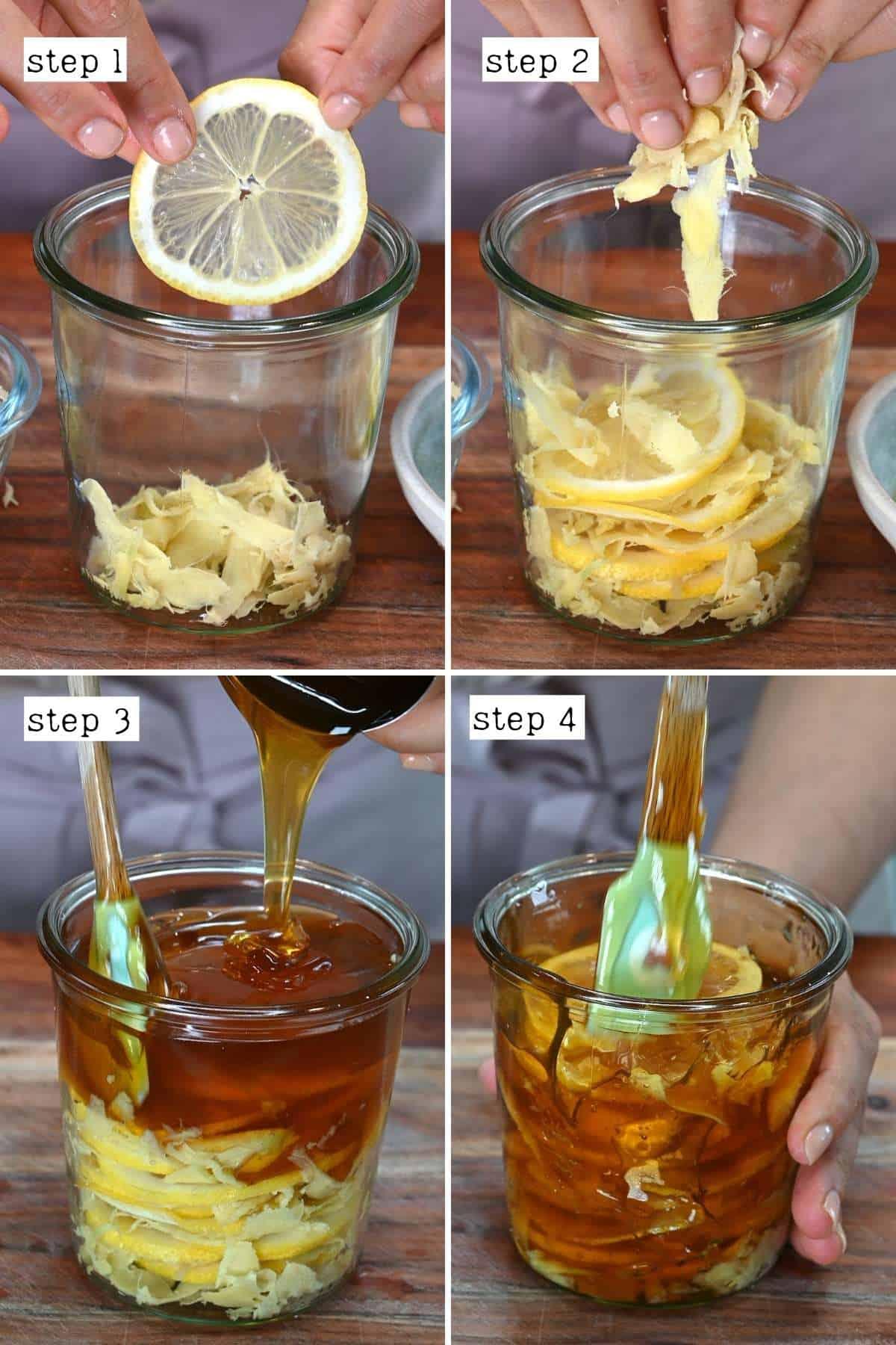 Steps for making lemon ginger honey ferment