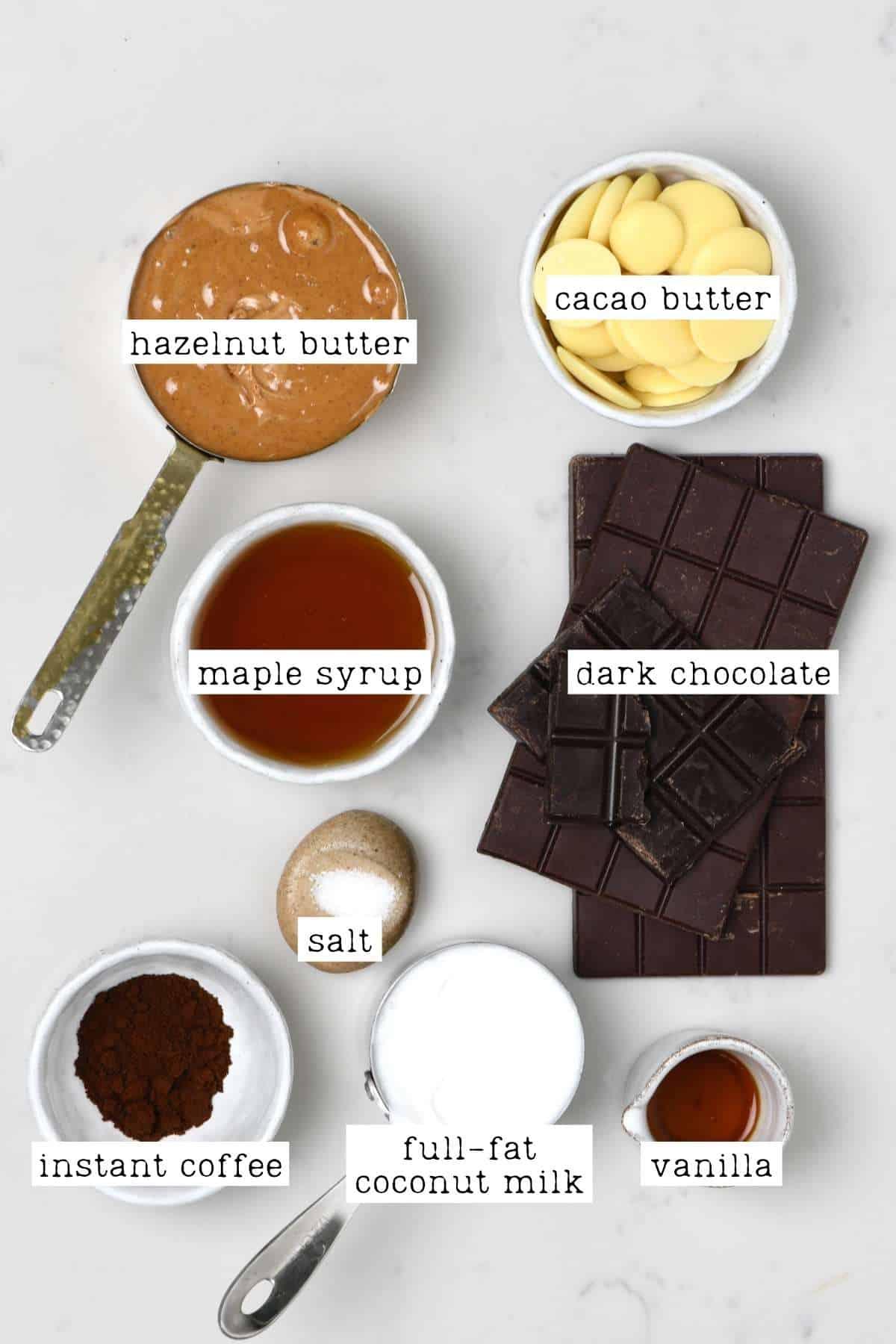 Ingredients for vegan Ferrero Rocher