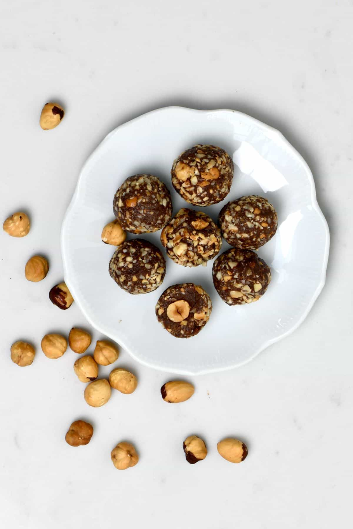 Seven vegan Ferrero Rocher on a plate