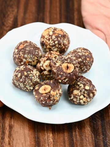 A plate with homemade Ferrero Rocher