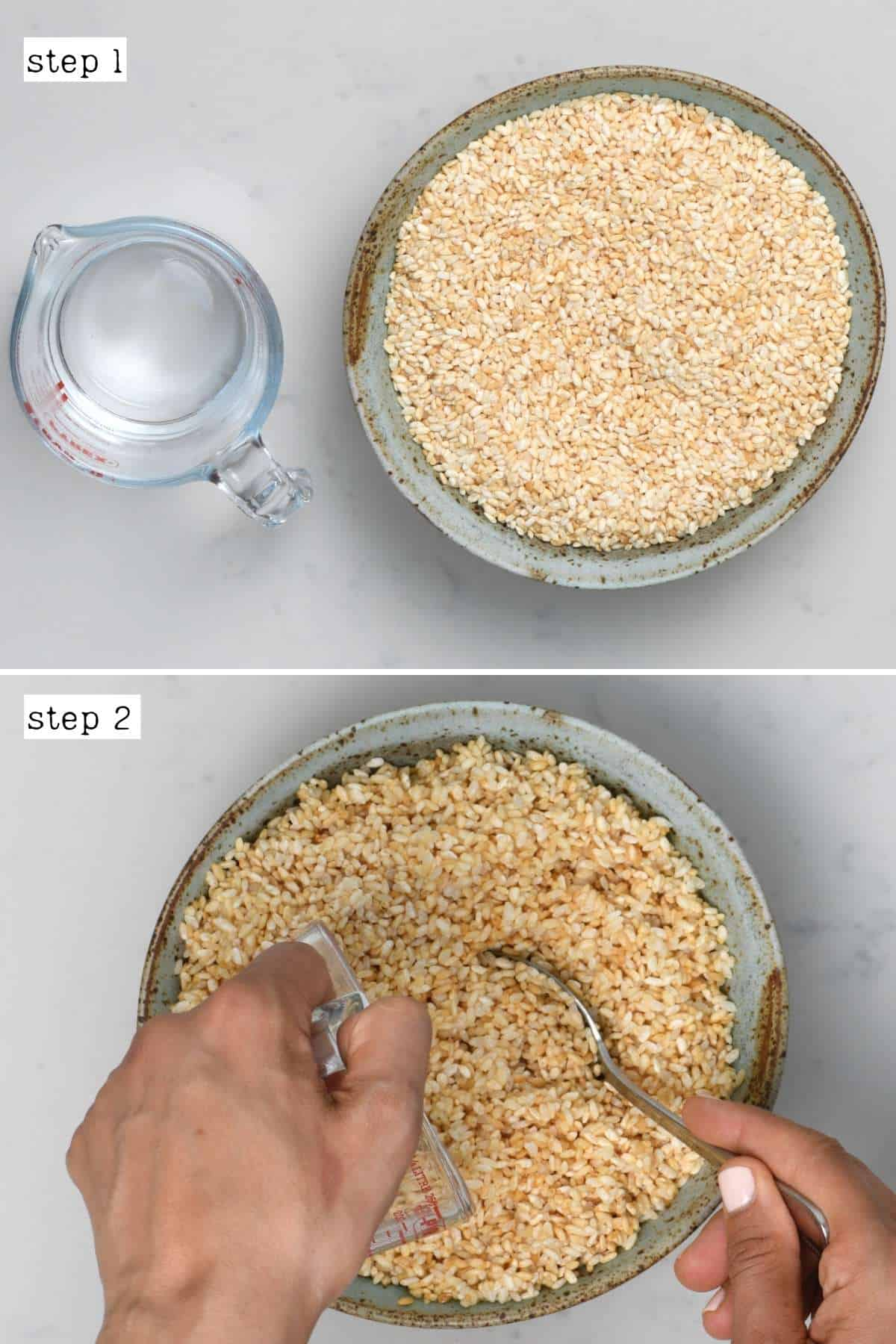Steps for mixing rice koji with water
