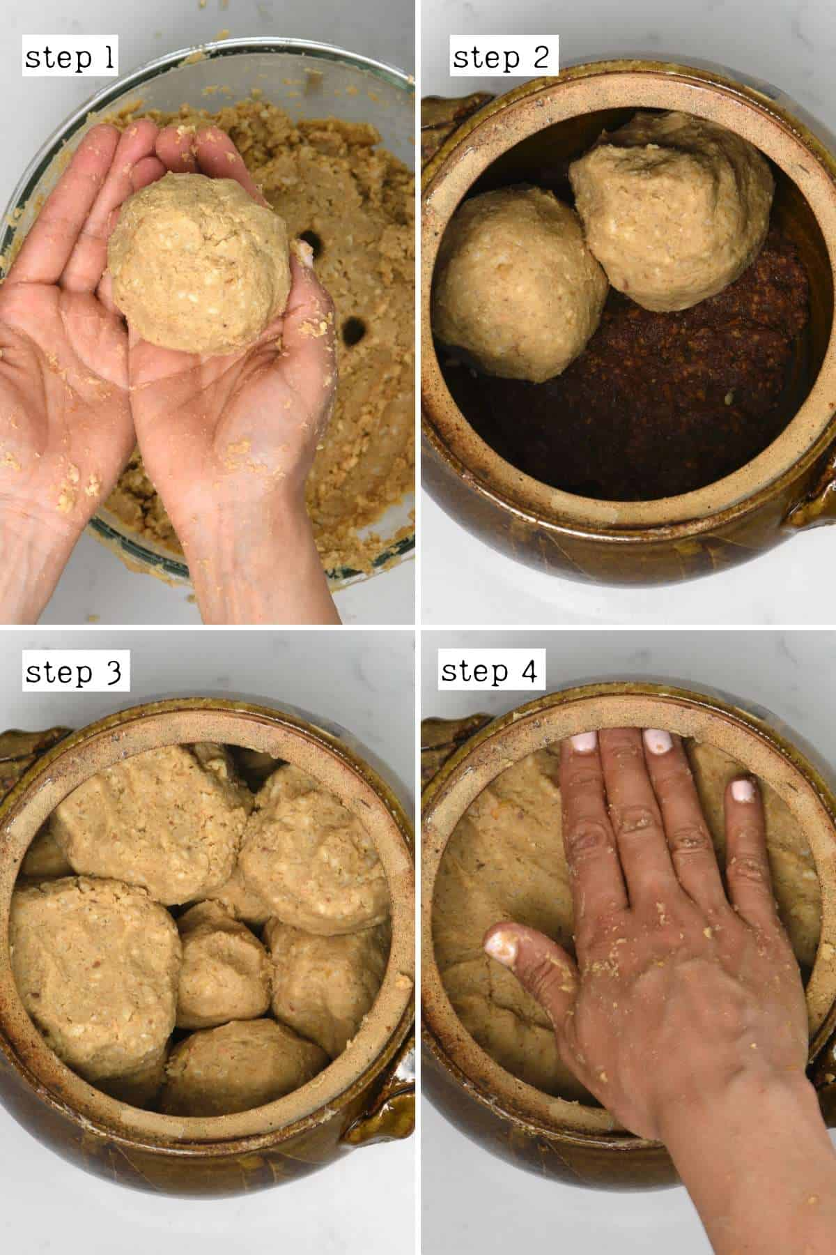 Steps for placing miso paste into a container