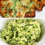Grated zucchini and Crispy Vegan Zucchini Fritter