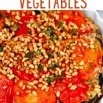 Vegan maqluba in a serving dish