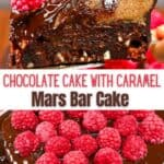 A slice of mars cake topped with raspberries