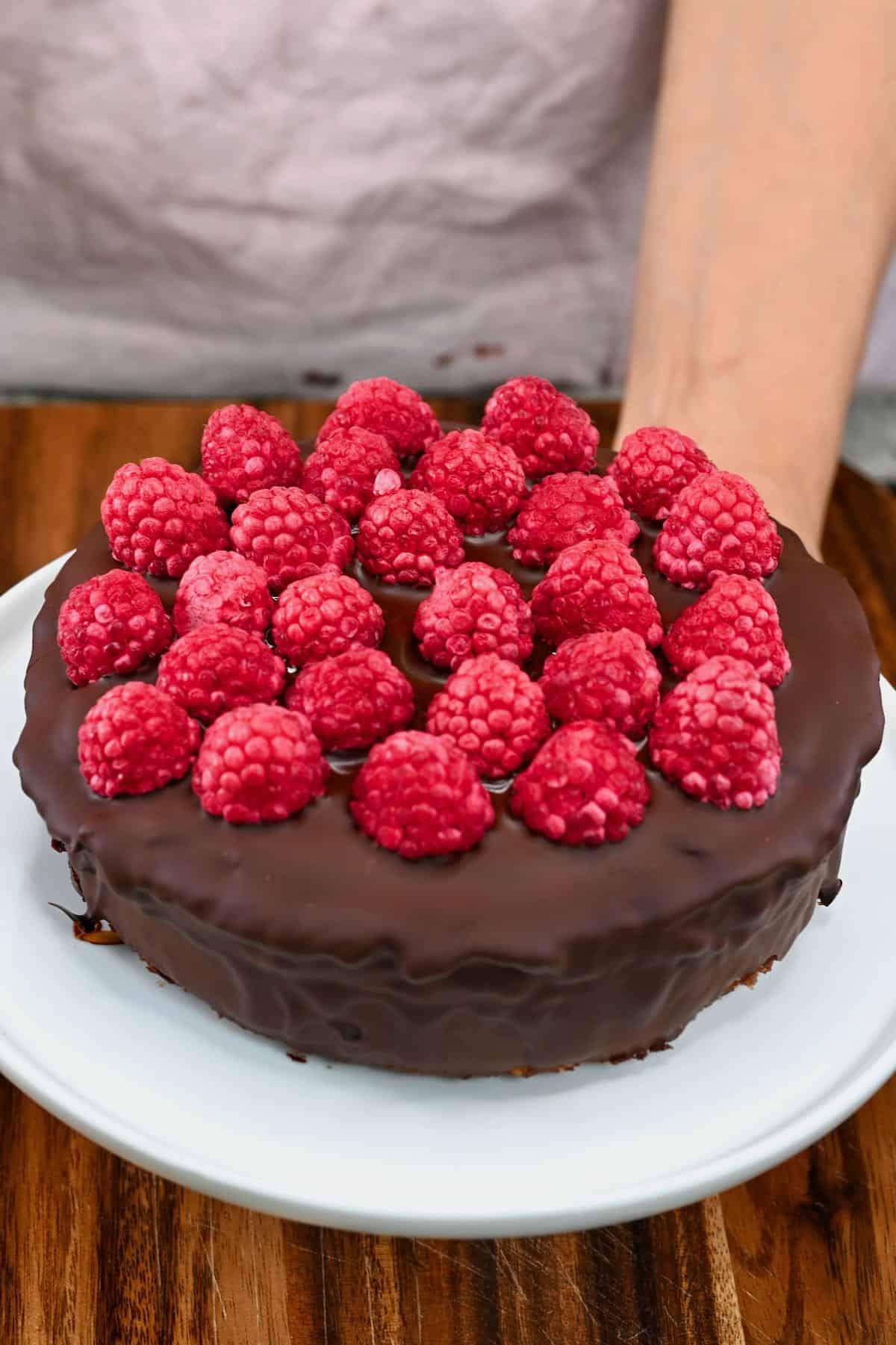 Mars cake with raspberry decoration