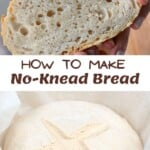 No-knead bread slice and the dough ready to bake