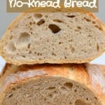 No-knead bread loaf cut in two
