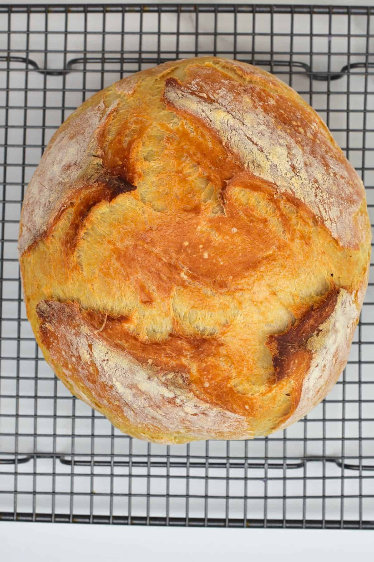 Basic bread on a cooling rack
