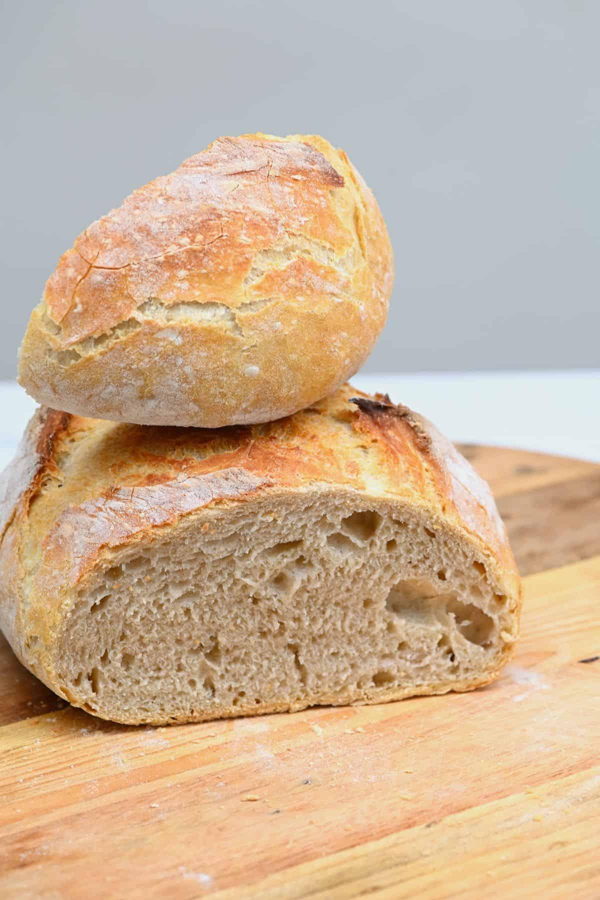 No-knead bread with the corner cut off