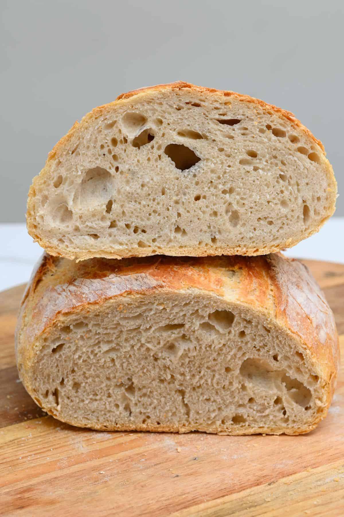 No knead dough cut in two