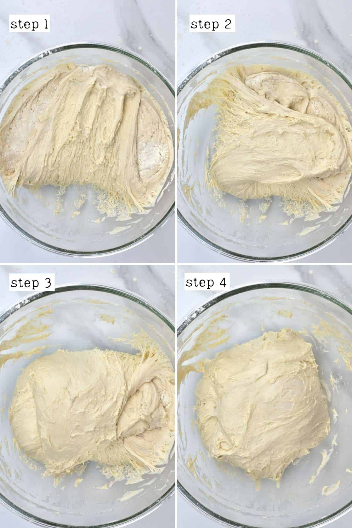 Steps for folding no knead bread