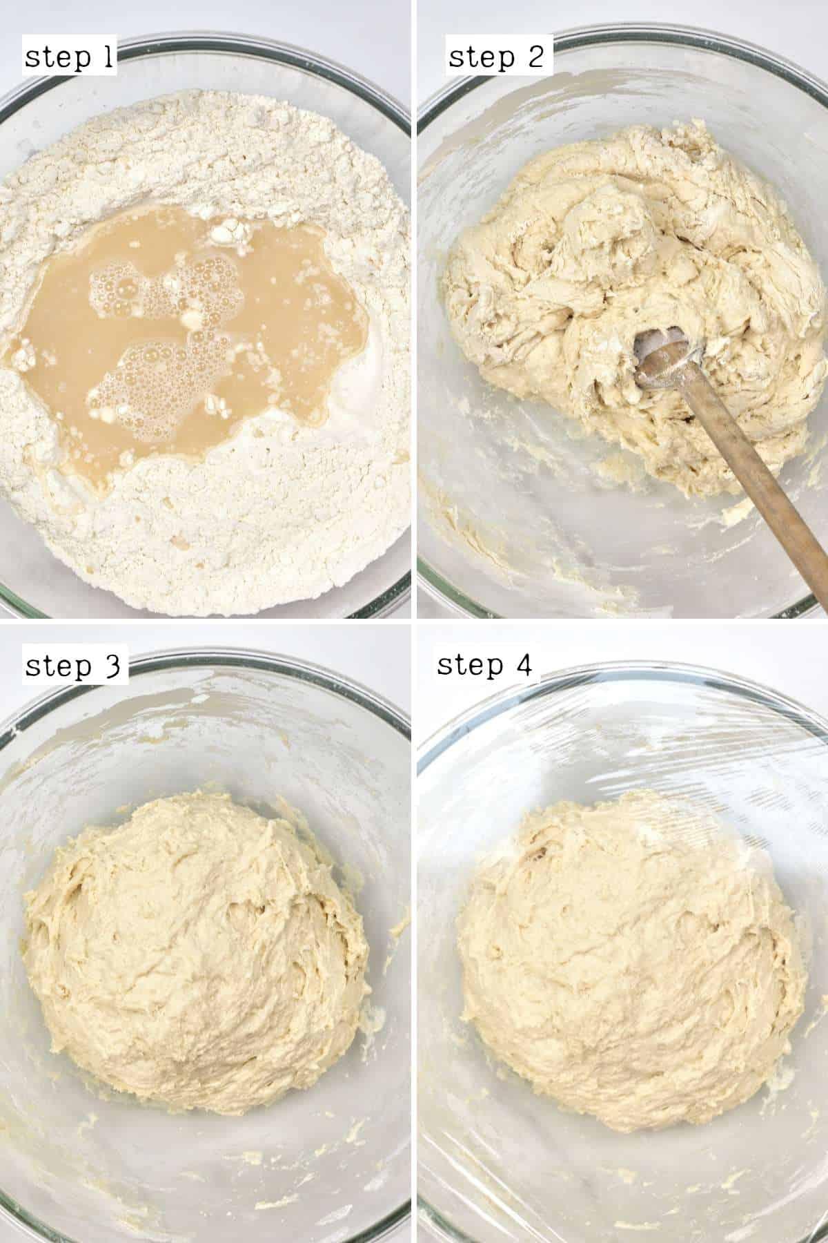 Steps for preparing bread dough