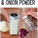 Onion powder and onion flakes in spice jars