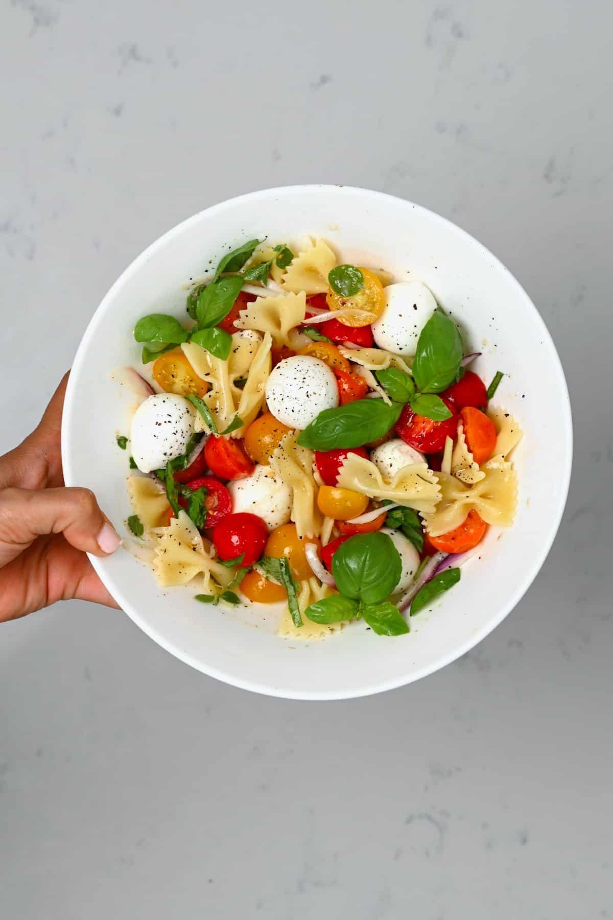 A serving of pasta salad