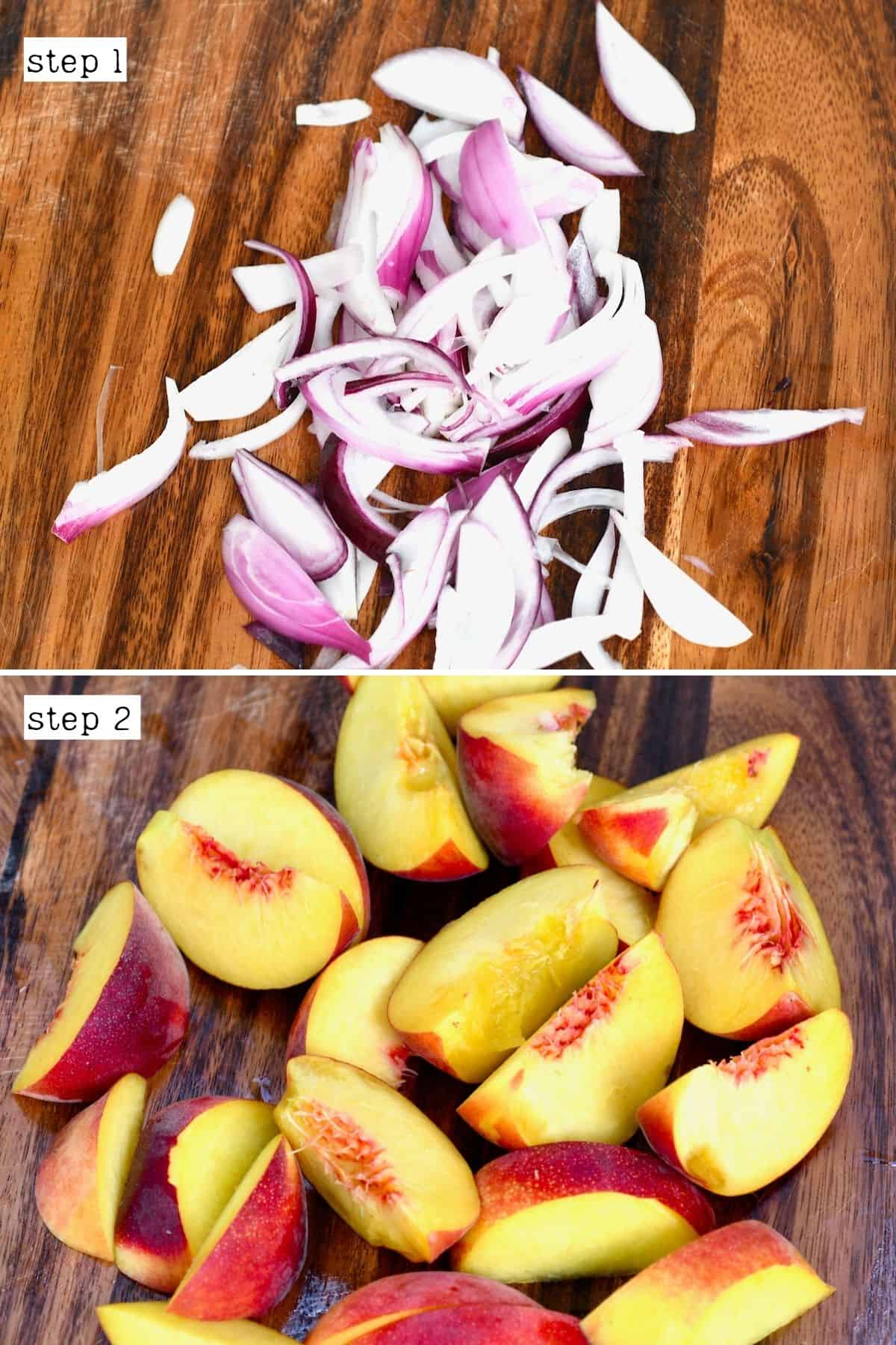 Sliced onions and peaches