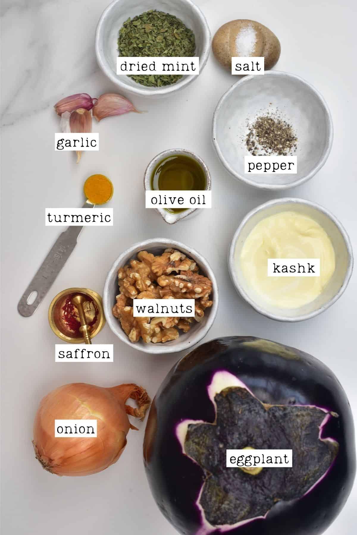 Ingredients for Persian eggplant dip