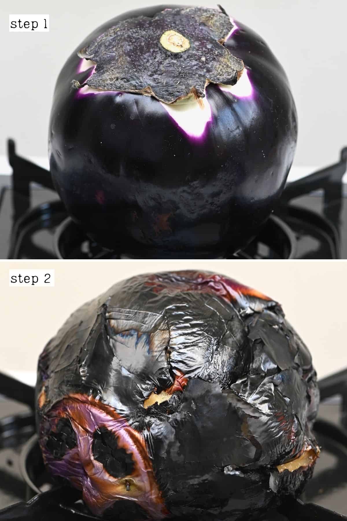 Steps for charring an eggplant