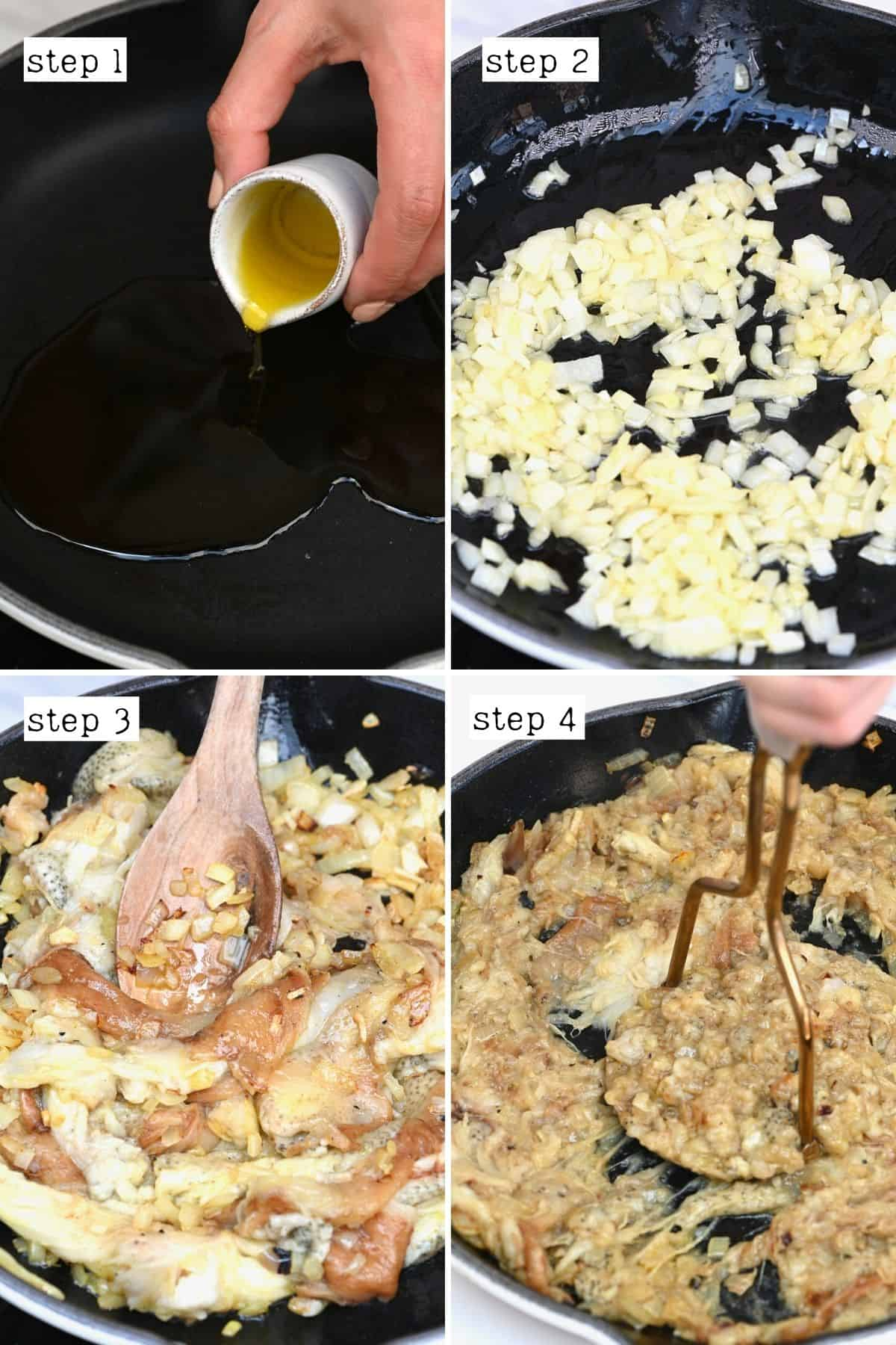 Steps for preparing kashke bademjan