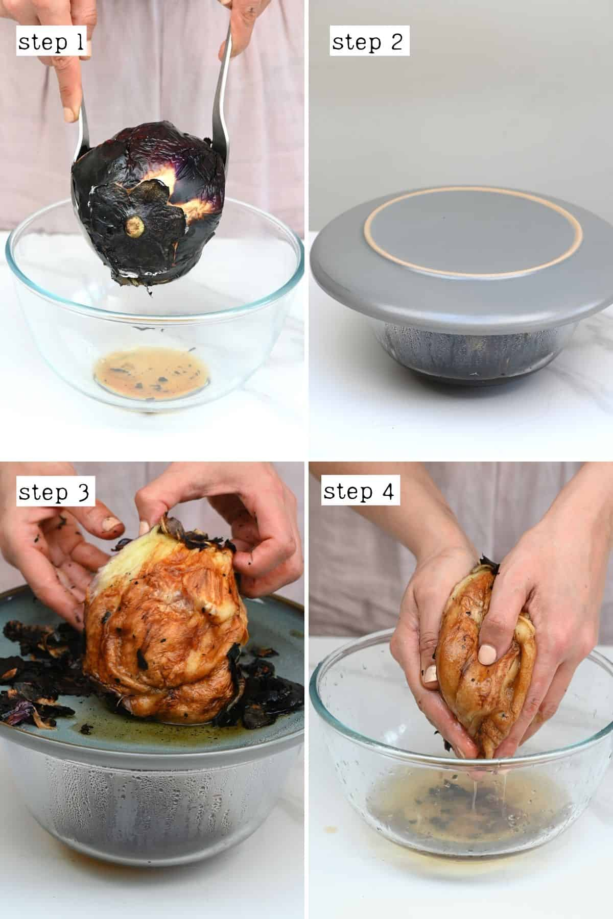 Steps for steaming and peeling eggplant