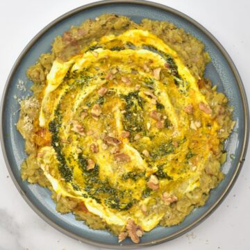 Persian eggplant dip topped with walnuts