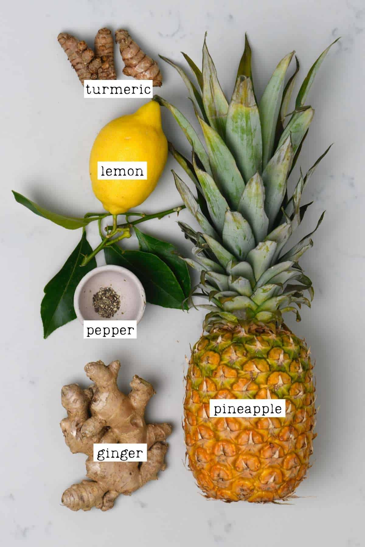 Ingredients for pineapple ginger juice