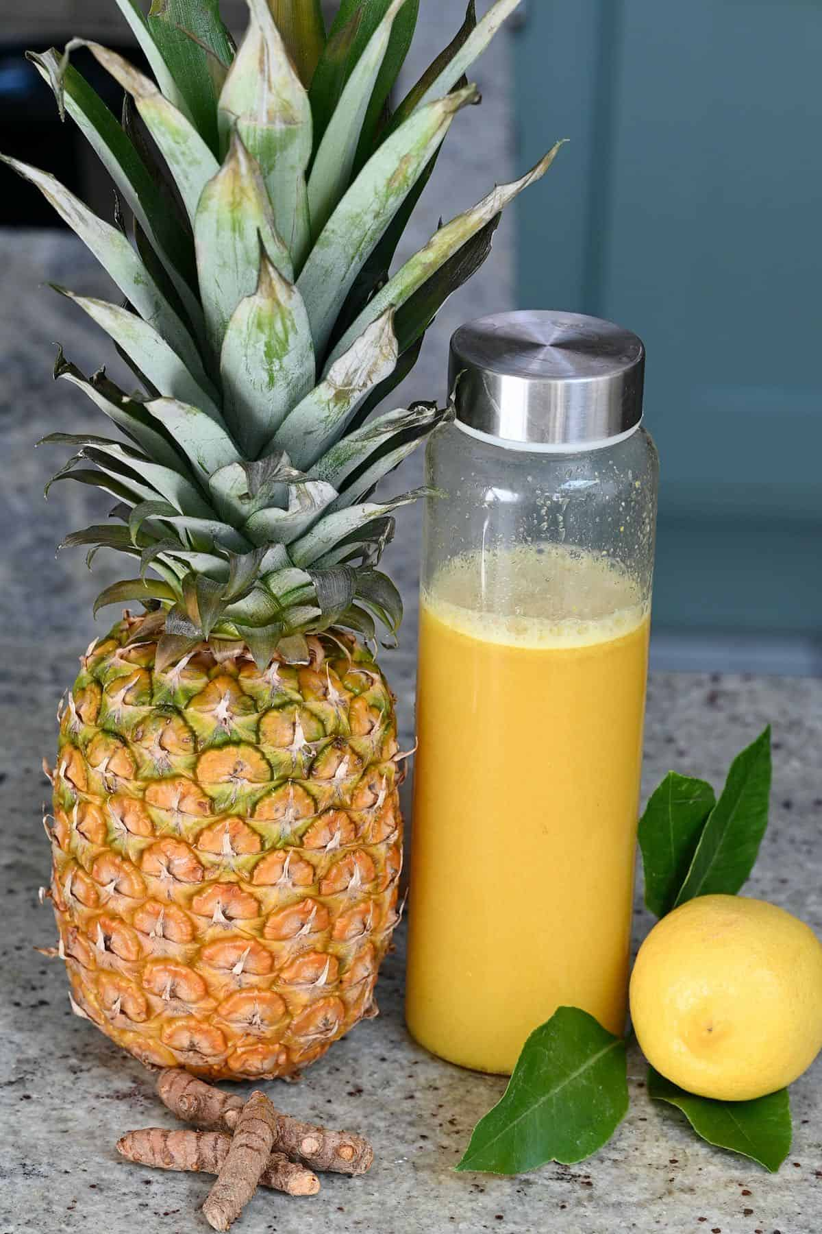 Pineapple ginger and tumeric and juice