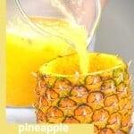 Pouring freshly made pineapple lemonade in a pineapple