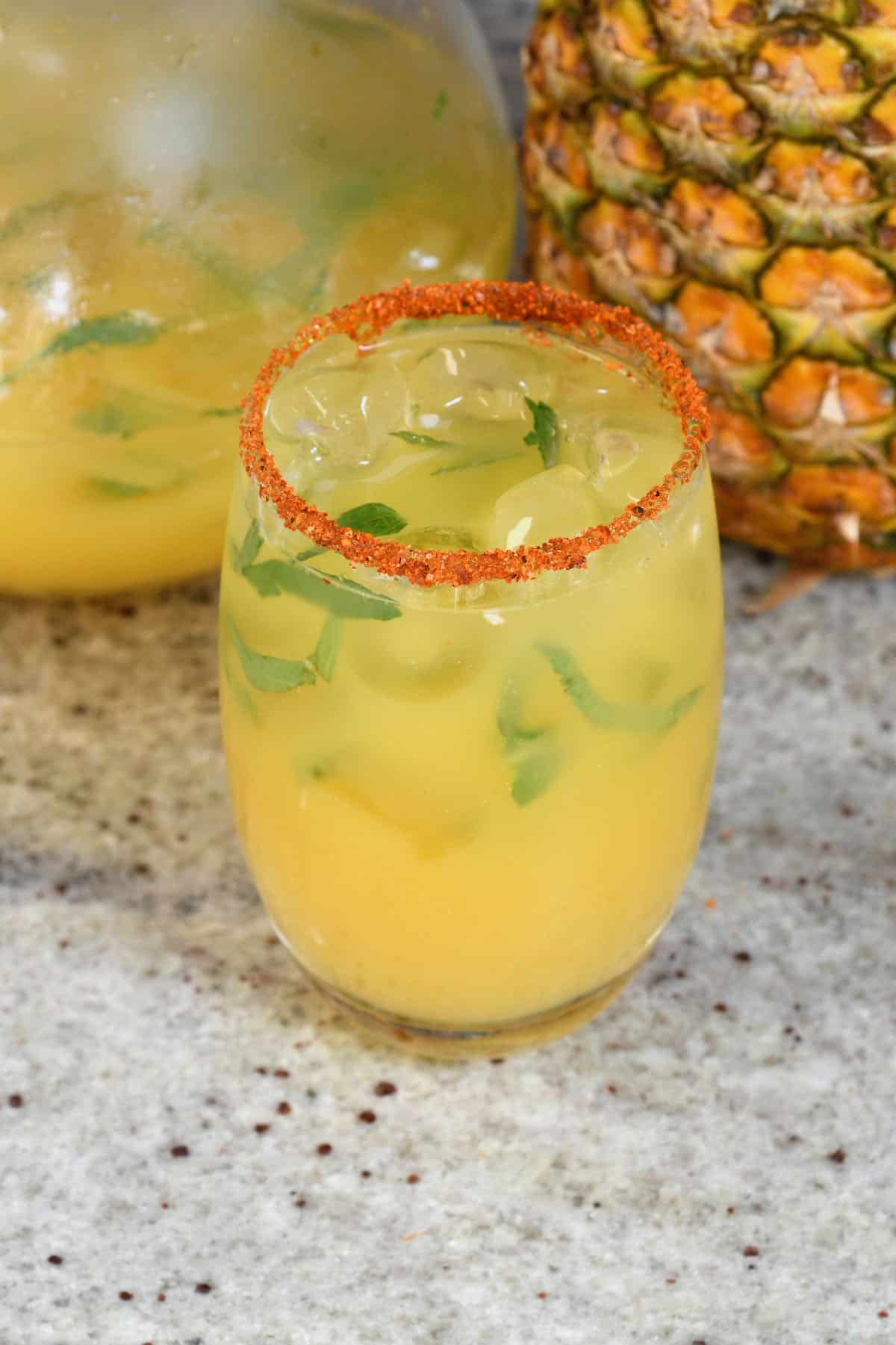 Pineapple orange juice in a glass