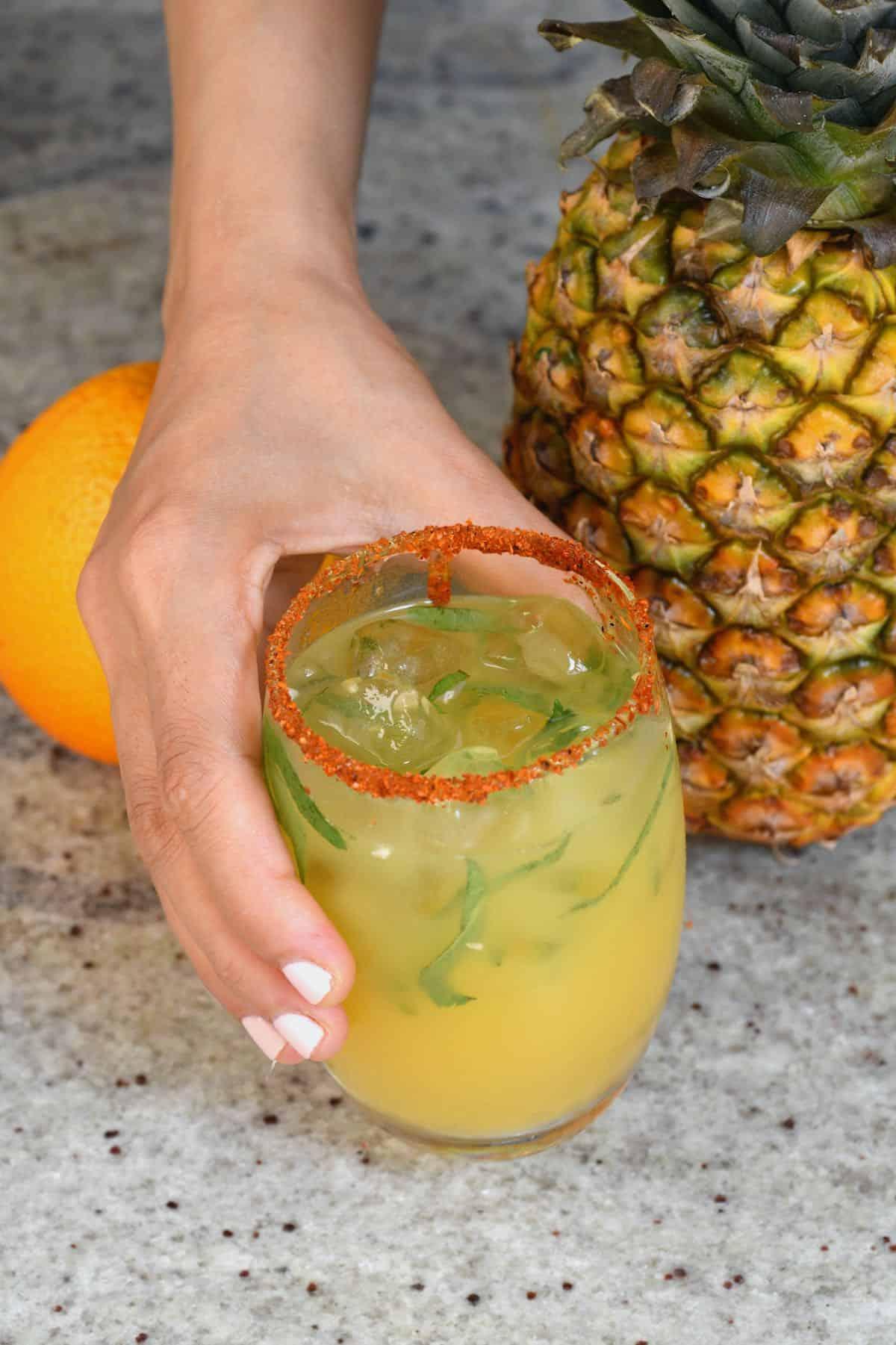 Pienapple orange juice in a glass