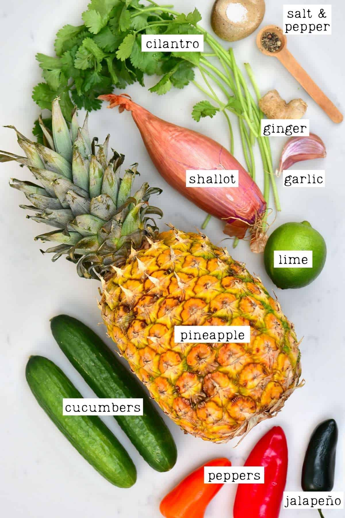 Ingredients for pineapple salad