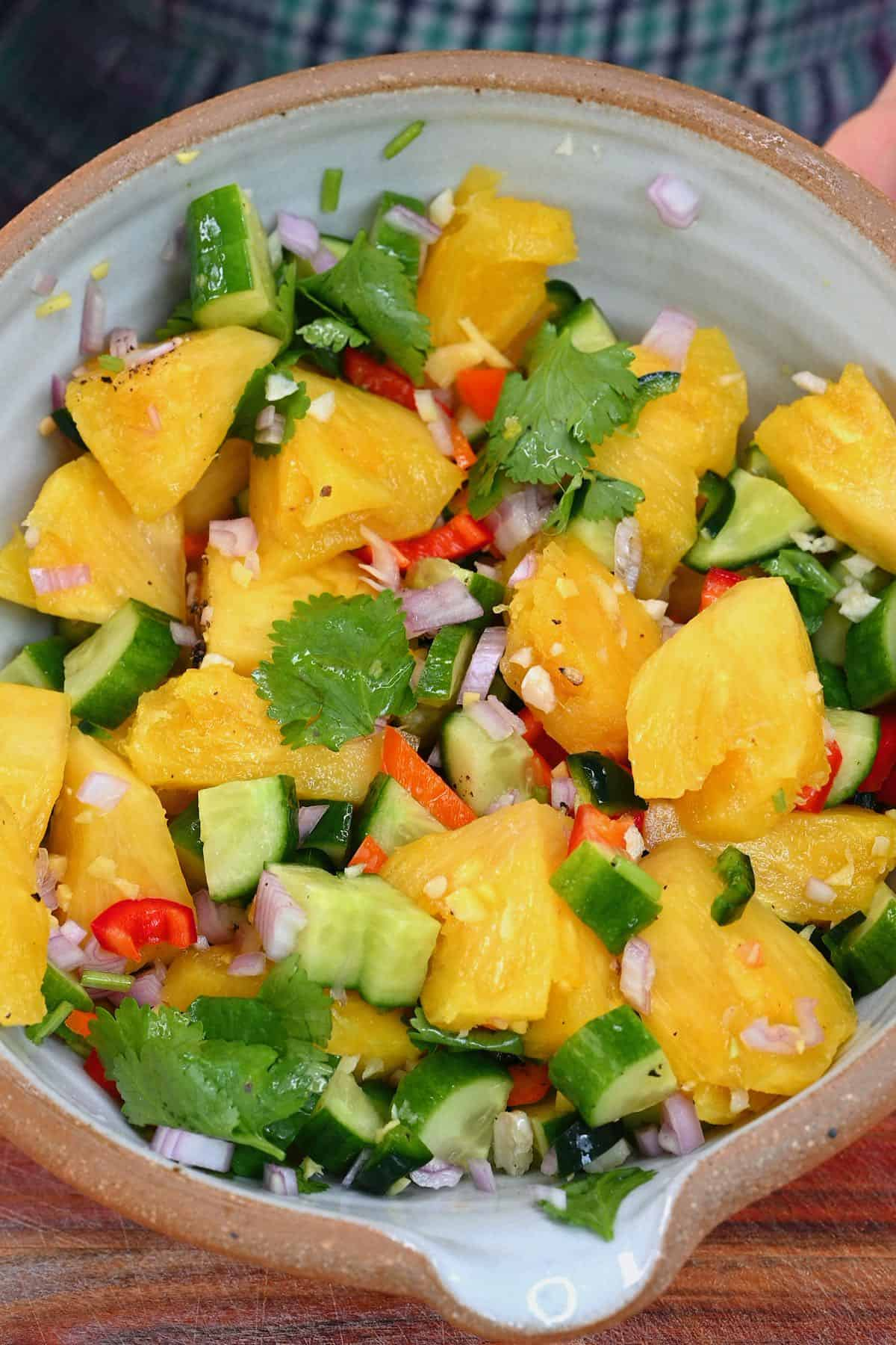 Pineapple salad in a bowl