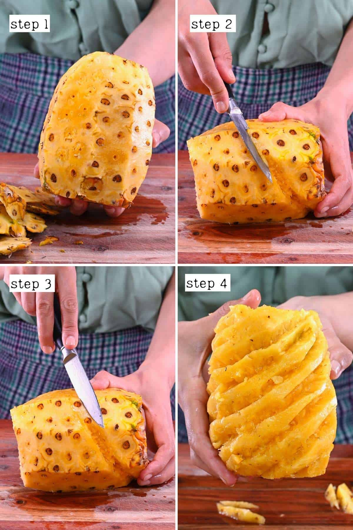Steps for cleaning a pineapple