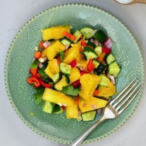 Pineapple salad on a plate