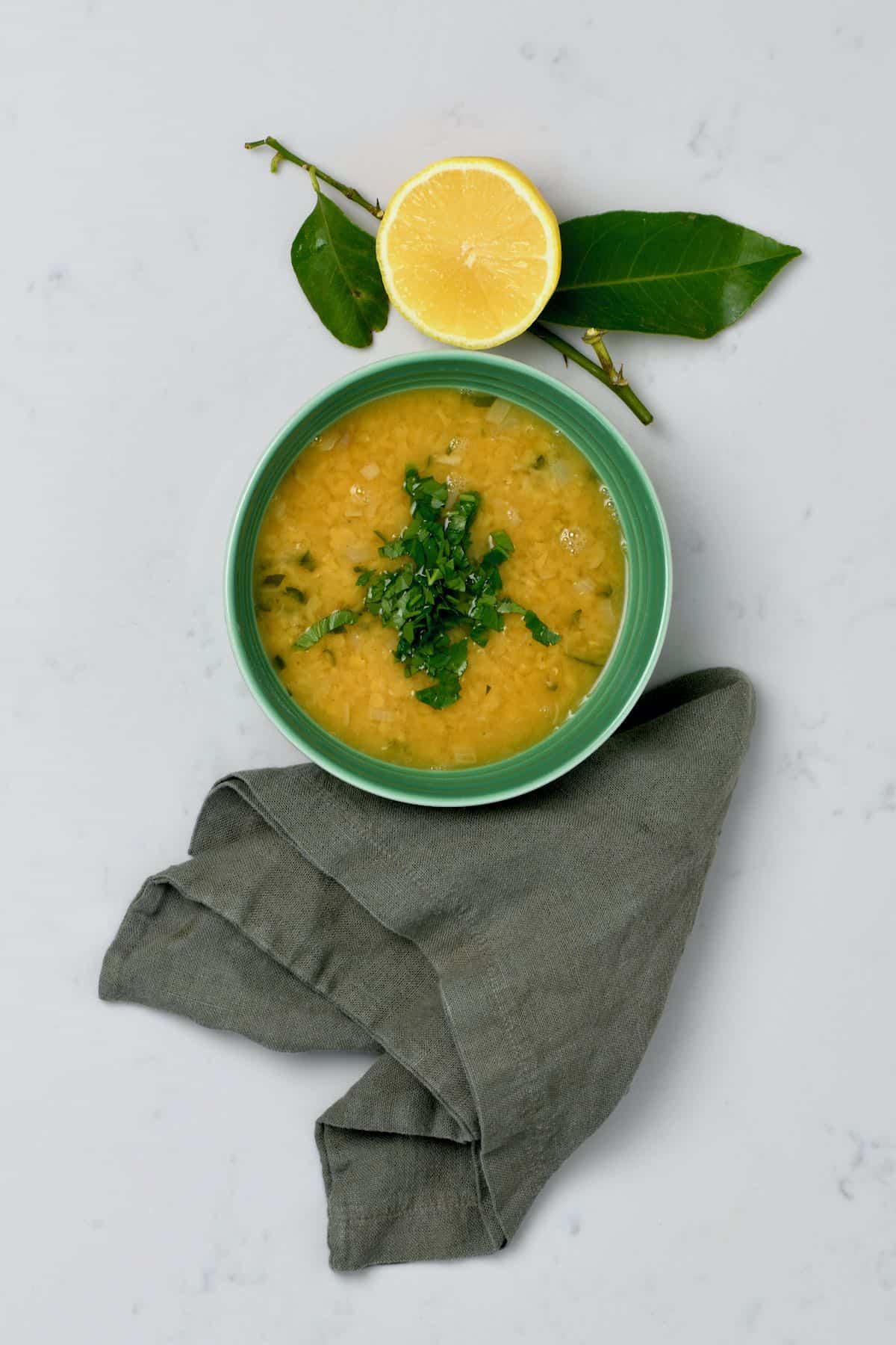 A bowl with lentil soup