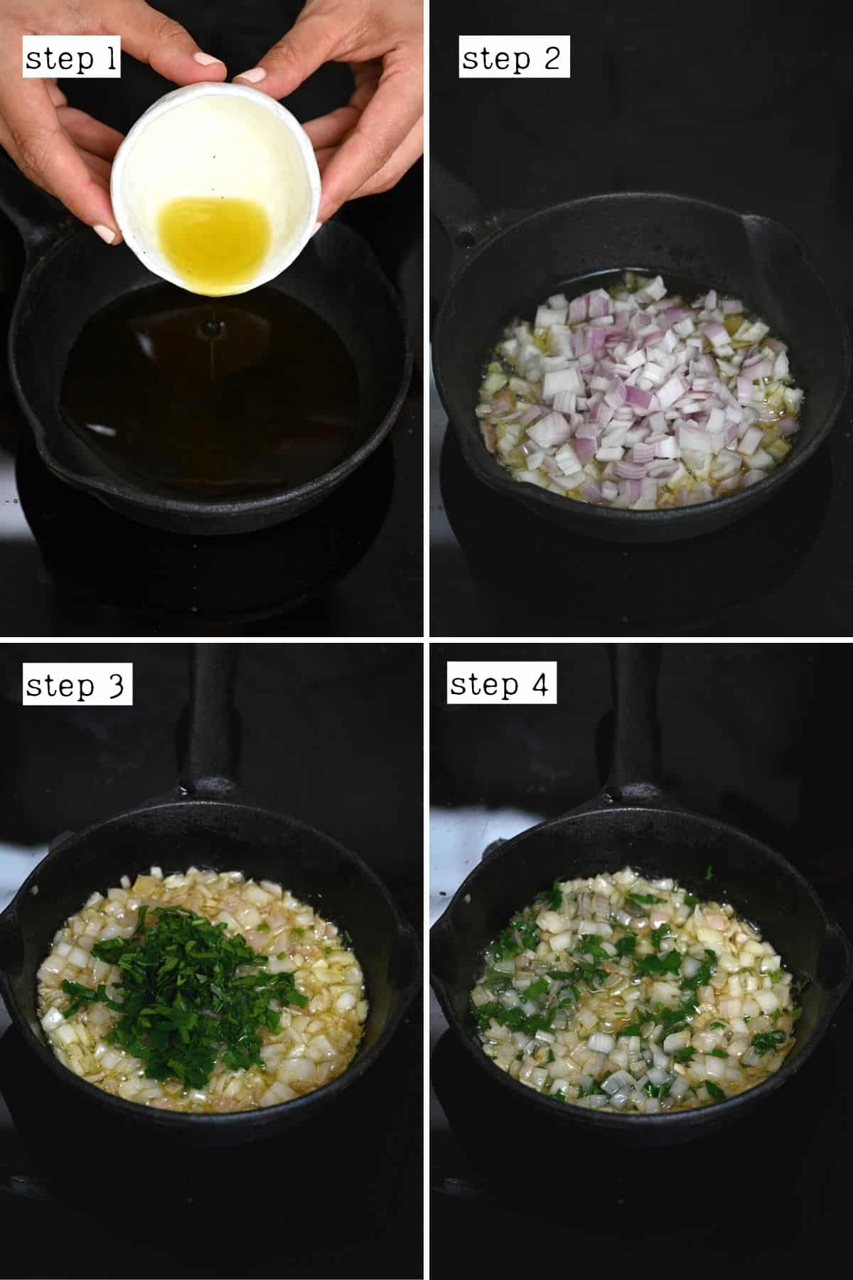 Steps for cooking onion and parsley