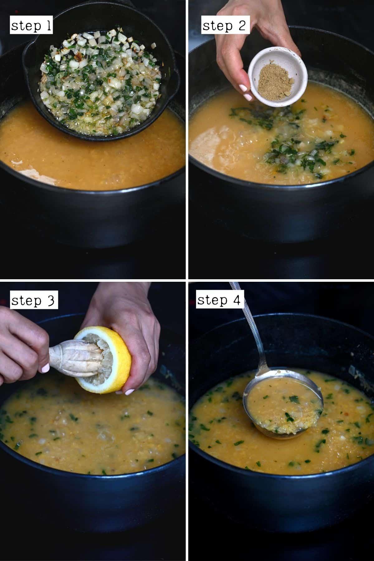 Steps for making red lentil soup