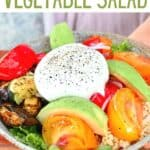 Roasted Vegetable Salad topped with cheese