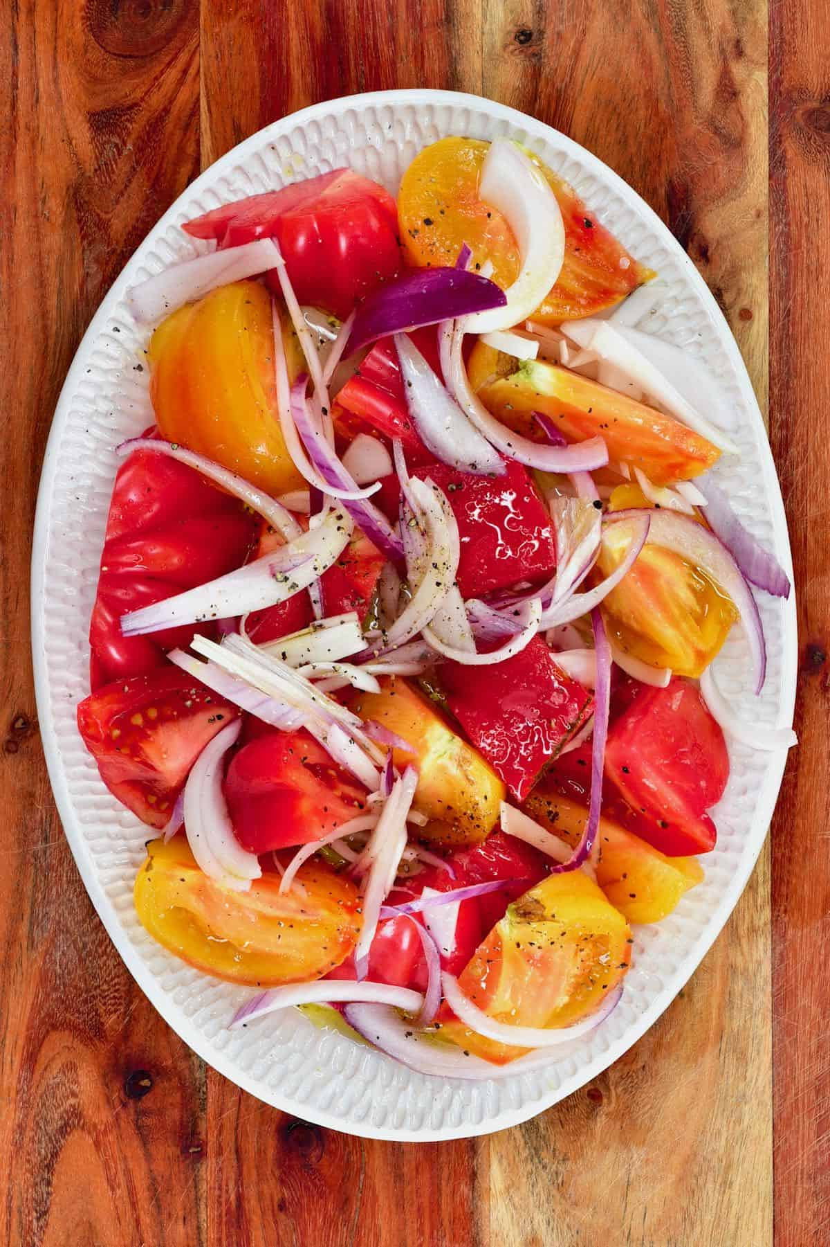 Chopped tomatoes and onion