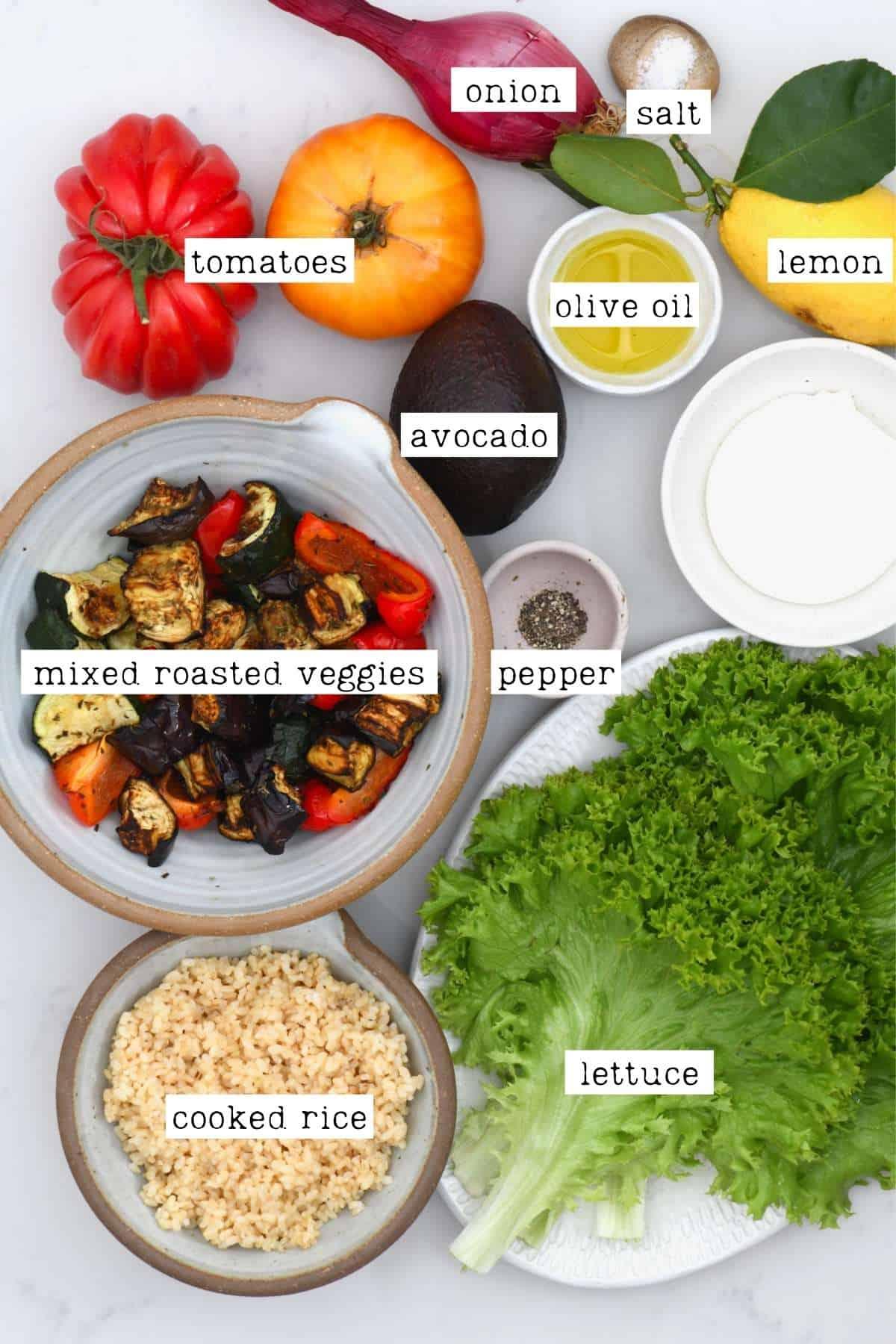 Ingredients for roasted vegetable salad