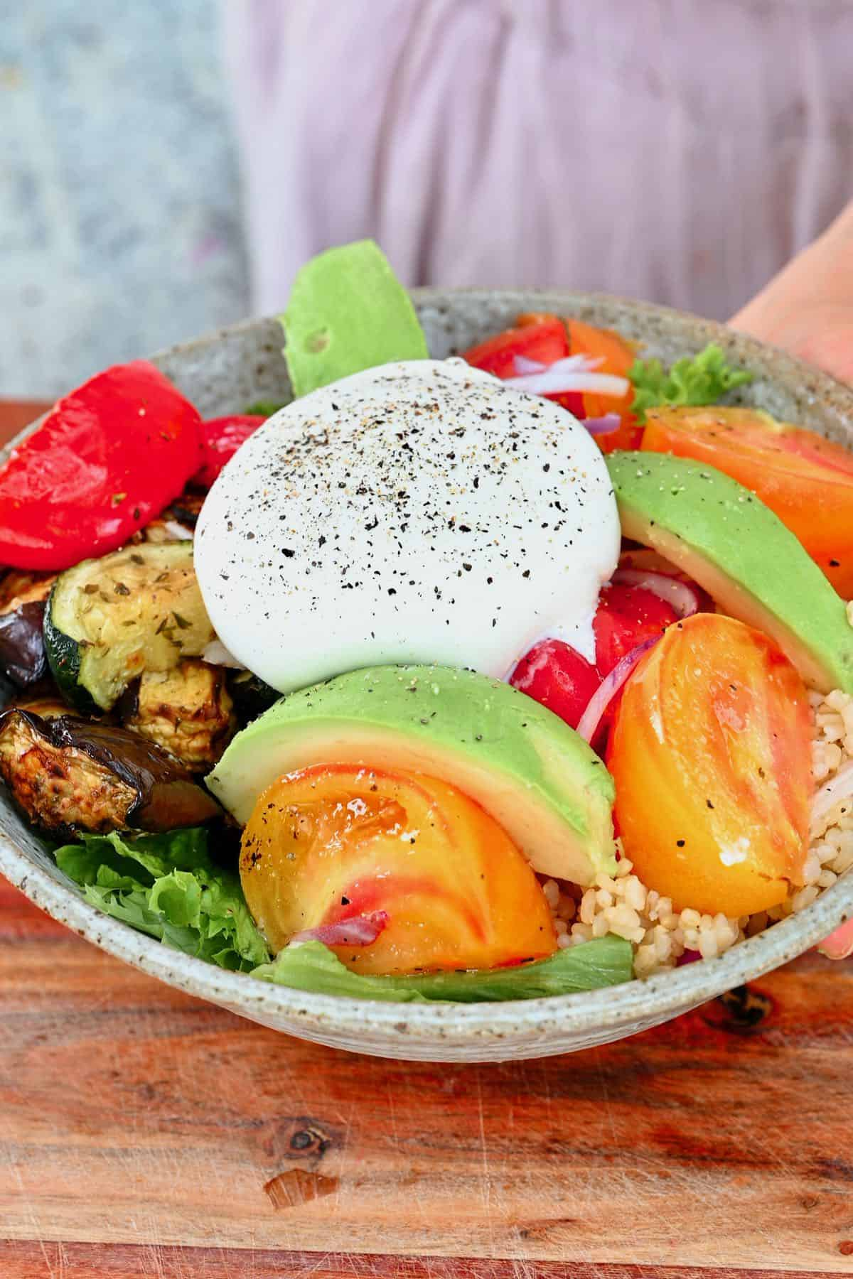 Roasted veggie salad with burrata