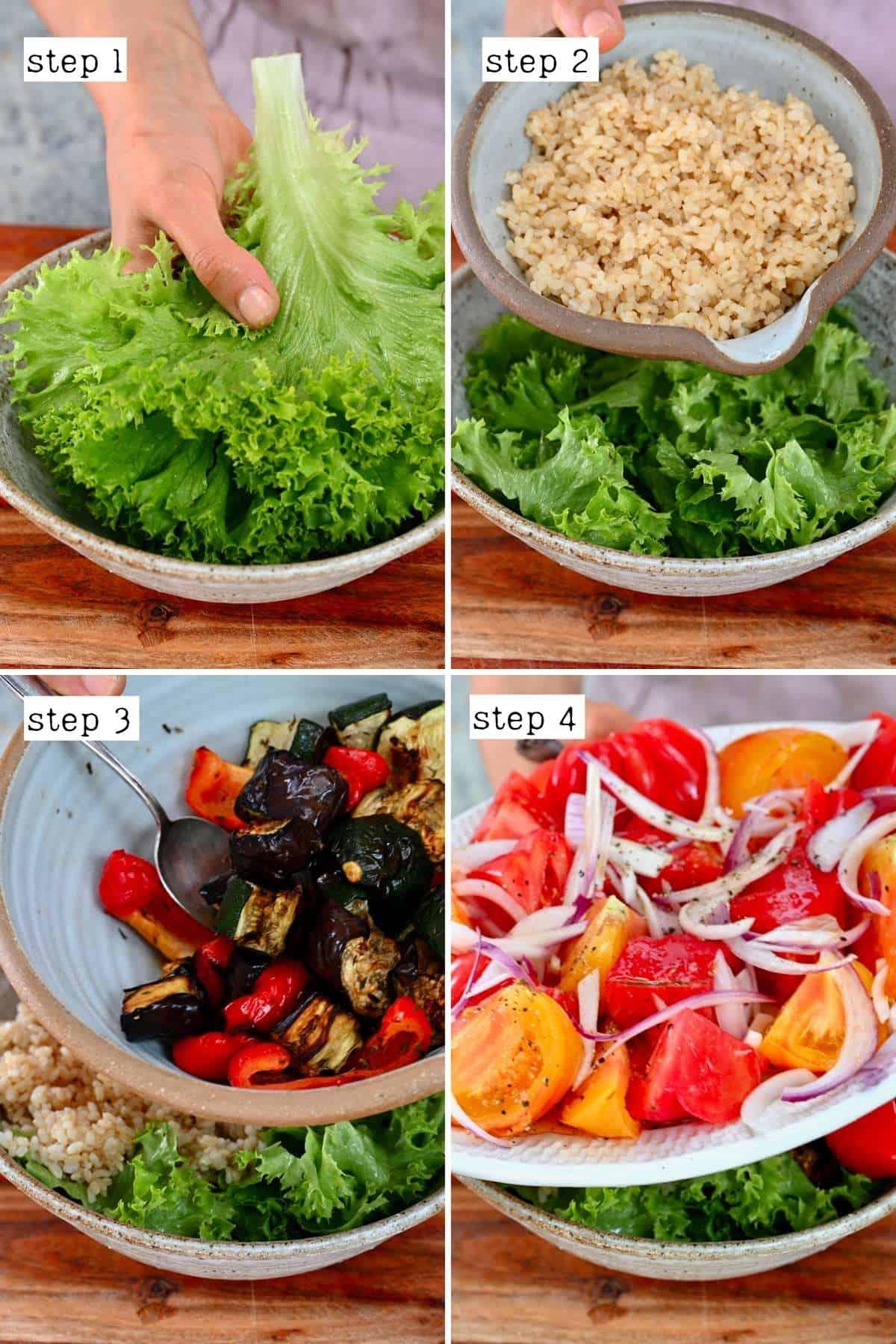 Steps for preparing roasted vegetable salad