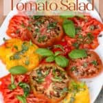 Simple tomato salad in a white plate