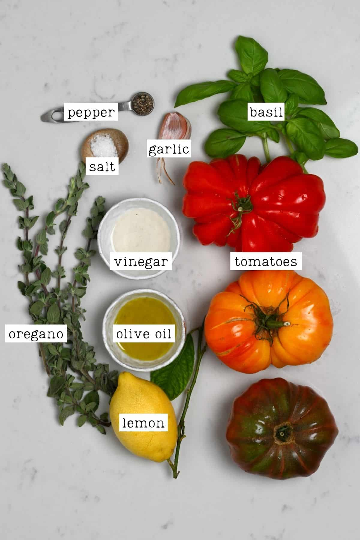 Ingredients for simple tomato salad