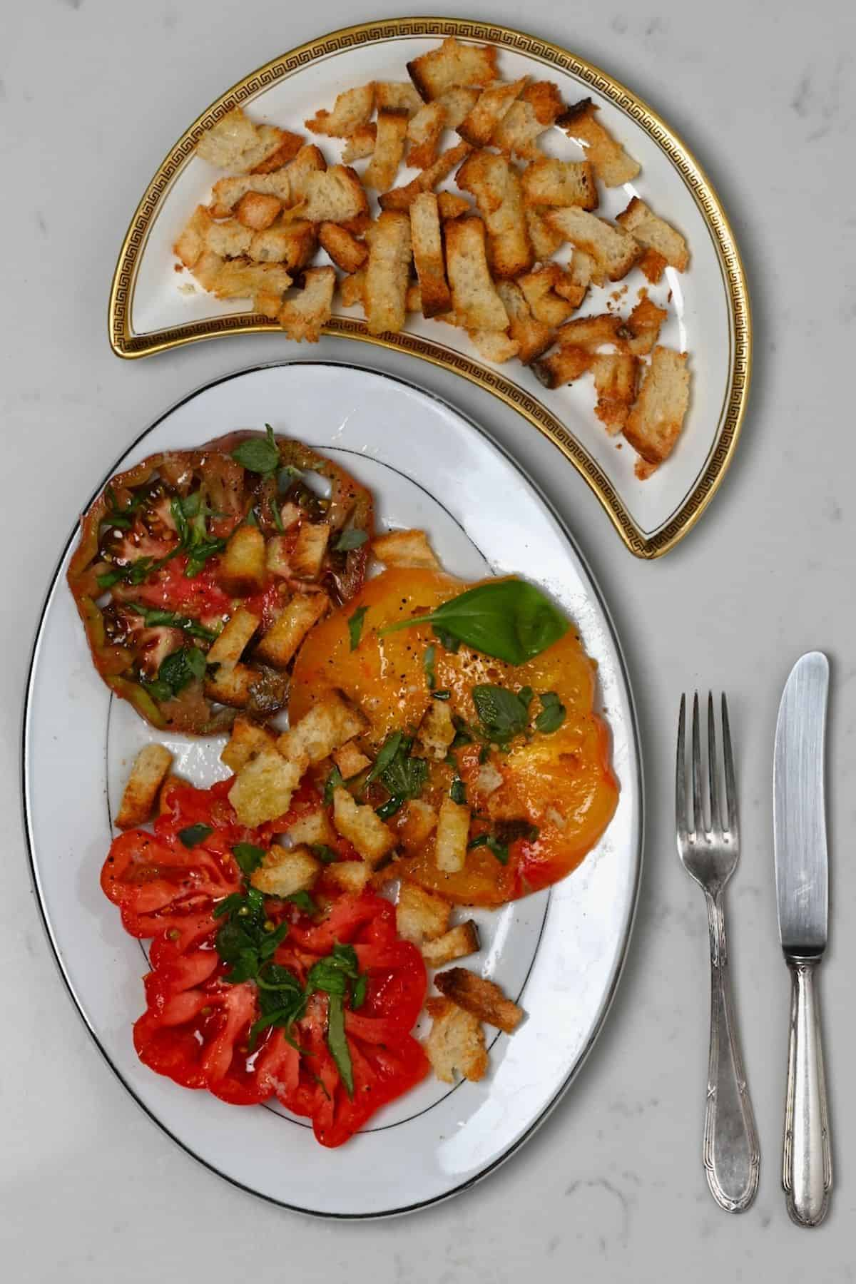 Simple tomato salad and croutons