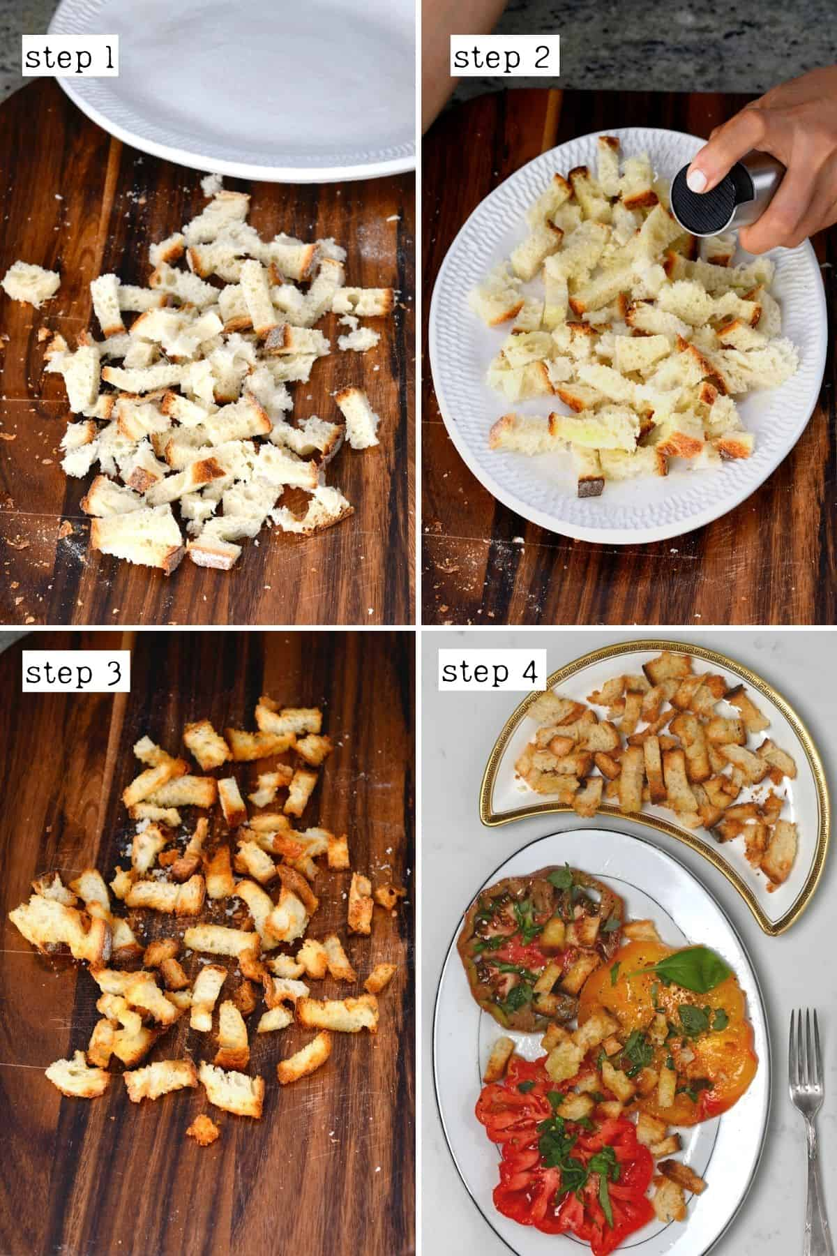 Steps for making croutons